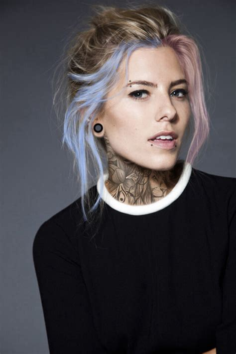 Girl Fashion Piercing Style Tattoo Pink Hair Blue Hair