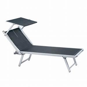 Chaise Longue Bain De Soleil : chaise longue de plage avec pare soleil design en image ~ Dailycaller-alerts.com Idées de Décoration
