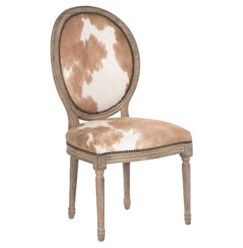 madeleine country oval brown hair on hide dining