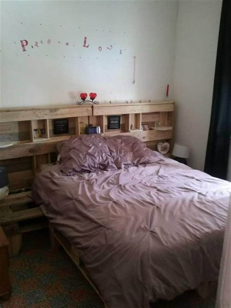 headboard storage ideas pallet bed with headboard and storage 1596