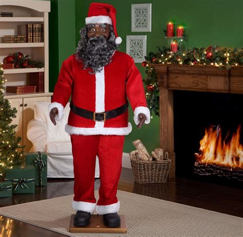 life size black santa claus size animated american black santa claus 6 ft ul listed new 690284812095 ebay