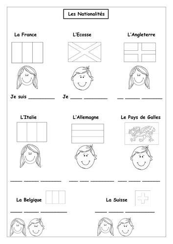 french countries  nationalities worksheet teaching
