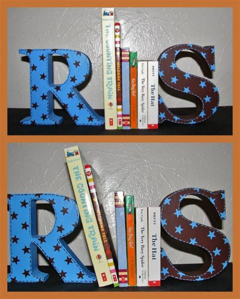custom hand painted bookends handpainted wooden letters sports decor kids handmade kids