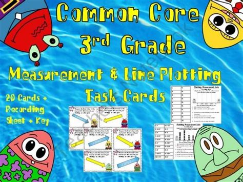 Common Core 3rd Grade Measurement And Line Plotting Task Cards Product From
