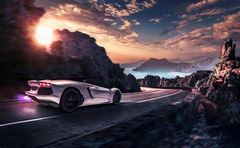 Car, Artwork, Lamborghini, Vehicle, Road, Motion Blur
