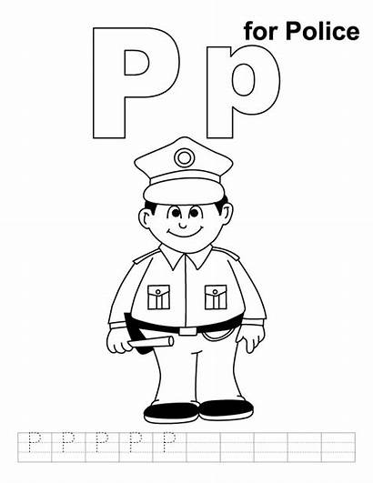 Police Coloring Pages Alphabet Activities Printable Coloring4free