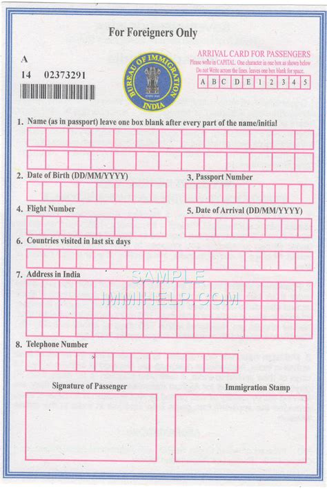 application post it bureau sle india arrival card for foreigners