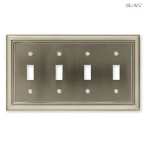 brushed nickel light switch brushed satin nickel quad light switch wall plate new