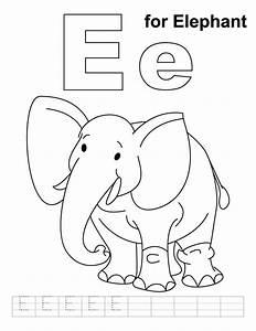 E For Elephant Coloring Page With Handwriting Practice Download Free E For Elephant Coloring