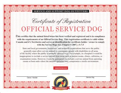 canadian service dog emotional  therapy service dog