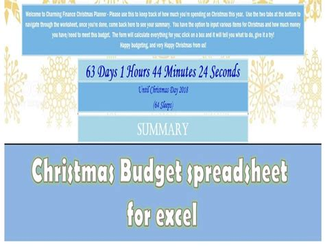christmas budget planner countdown spreadsheet christmas