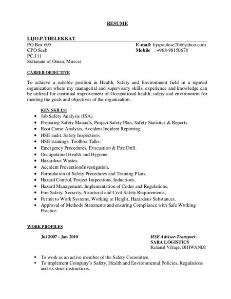 Environmental Health And Safety Resume Objective by Lijo Trasport Hse Resume