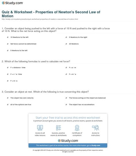 newtons second worksheet quiz worksheet properties of newton s second of