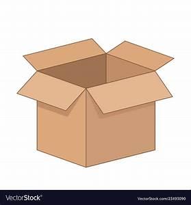 Open Cartoon Flat Cardboard Box On White Vector Image
