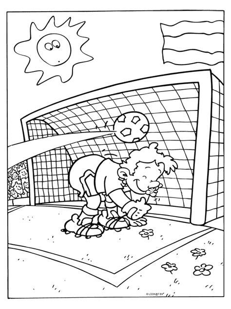 Kleurplaat Handbal by Kleurplaat Voetballen Doelpunt Kleurplaten Nl