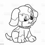 Outline Coloring Dog Cartoon Animal Puppy sketch template