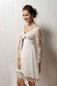 vintage inspired ivory lace casual wedding dress with long With long sleeve casual wedding dress
