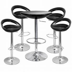 Crescent Bar Stool And Podium Table Set Black