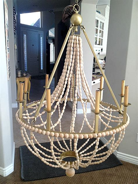 How To Make Your Own Chandelier by How To Make A Diy Wood Beaded Chandelier Tatertots