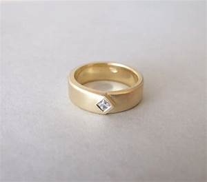 solid 14k gold minimalist square wedding ring engagement With wedding band for square engagement ring