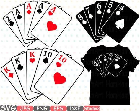 poker cards silhouette svg cutting files digital clip art