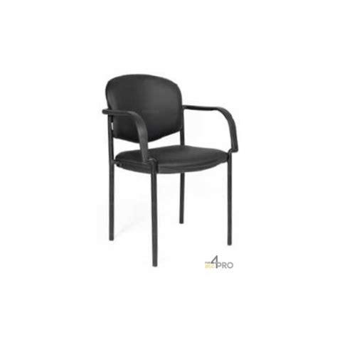chaise visiteur en cuir noir avec accoudoirs 4mepro