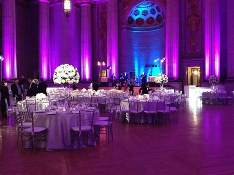 purple white and silver wedding reception purple and