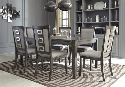 ashley furniture dining tables and chairs ashley 7 piece chadoni grey extension dining table and