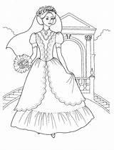 Coloring Pages Princess Flowers Bouquet Bridal Brides Colorkid sketch template