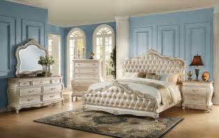 the acme 23540q 4pcs chantelle rose gold pu pearl white queen bedroom set reviews home best