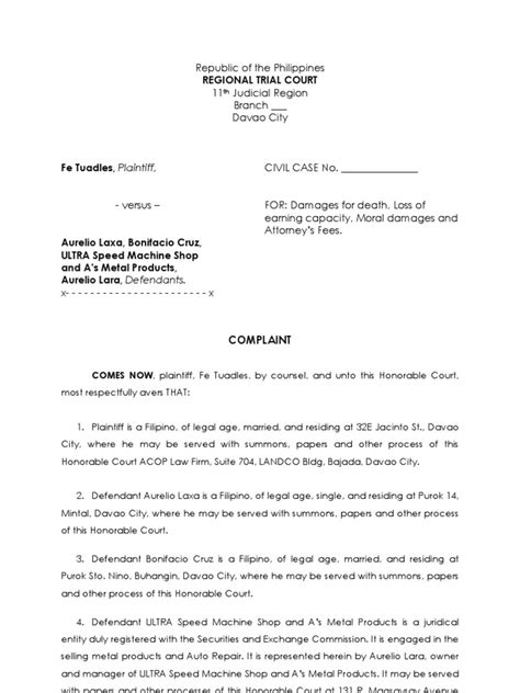 Sample Complaint | Summons | Damages