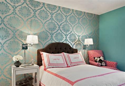 teal damask wallpaper transitional bedroom marks