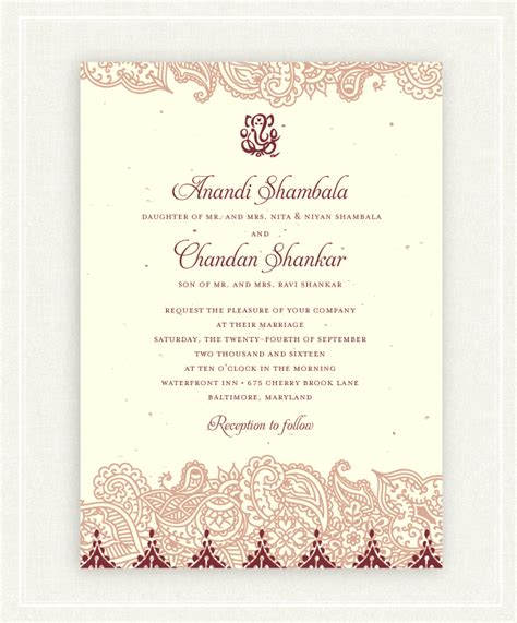 Indian Wedding Invitations on Seeded Paper Shantih