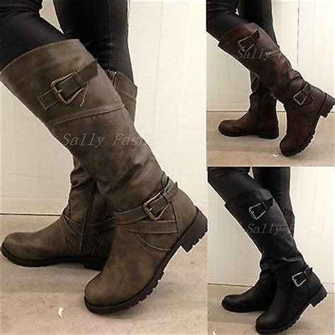 womens biker boots fashion new womens knee boots slouchy low heel biker boots fur