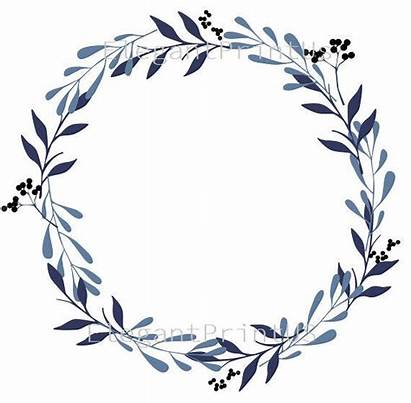 Navy Clipart Wreath Watercolor Minimalist Clip Leaf