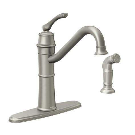 kitchen faucets shop moen wetherly spot resist stainless 1 handle deck