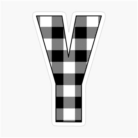 letter  monogram black  white buffalo plaidcheck glossy sticker  gsallicat