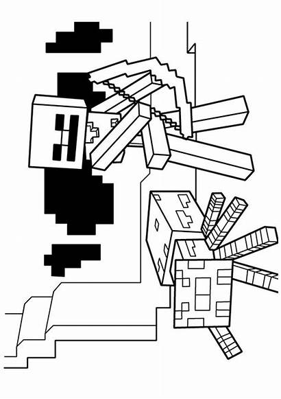 Coloring Minecraft Skeleton Pages Arrow Wither Spider