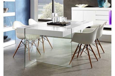 table de cuisine à rallonge table de salle à manger design verre et laque mate blanche