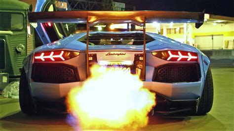 insane flames lamborghini aventador lp  ft liberty
