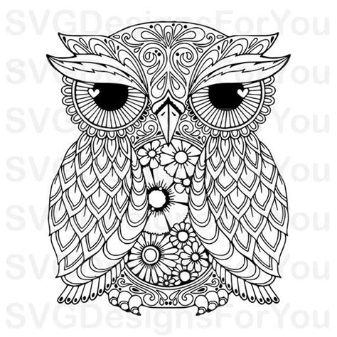 The cutting points were reduced to a minimum, so. Sale ZENTANGLE OWL SVG Design Mandala Owl Svg Owl Clip   Etsy