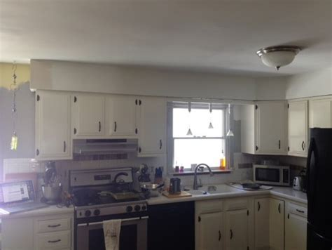 Remove Bulkhead above cabinets   Leave just a section over