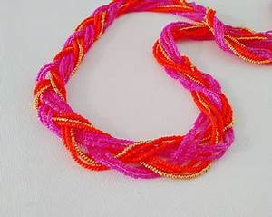 Hot pink necklace neon pink necklace fuchsia multistrand