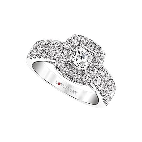love story diamonds halo cushion engagement ring by love