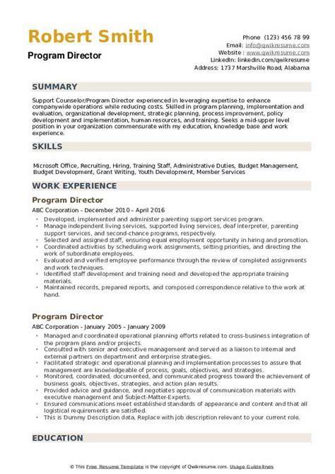 Resume Programs by Program Director Resume Sles Qwikresume