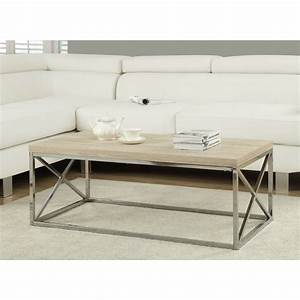 Modern rectangular coffee table with natural wood top and for Wood top metal legs coffee table
