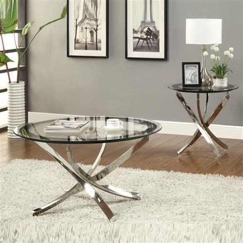 Suffice to say, we love round coffee tables. Nickel Round Tempered Glass Top Chrome Legs Cocktail Coffee Table End Table | eBay