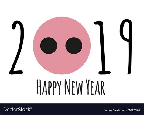 Happy New Year 2019 Cute Card Design With Cartoon Vector Image