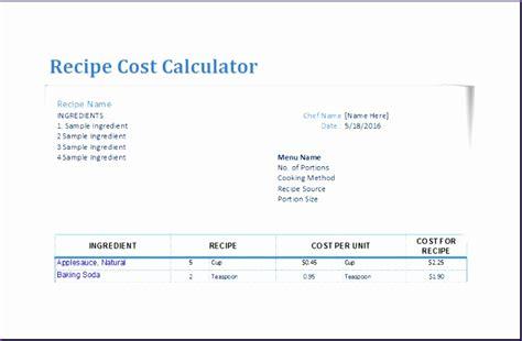 recipe template excel 9 recipe cost calculator exceltemplates exceltemplates