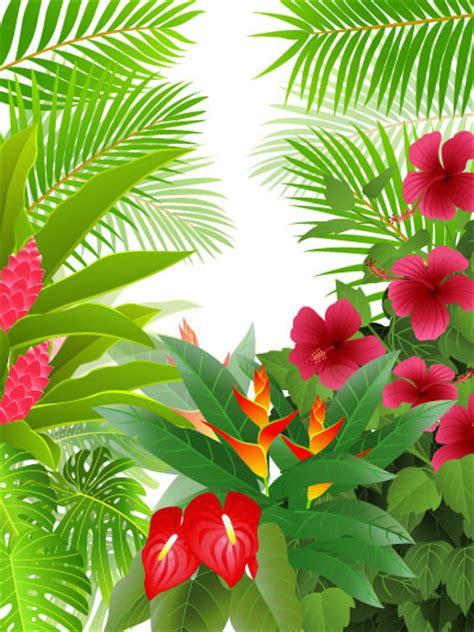 tropical green leaf elements vector background